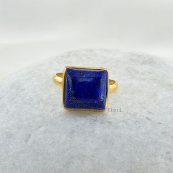 Lapis Lazuli Beautiful Square 12x12mm Micron Gold Plated 925 Sterling Silver Gemstone Ring - #1042