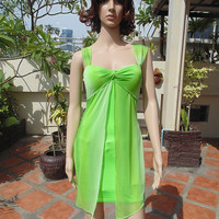 Parrot Green Fancy Sexy Women Party Prom Dress