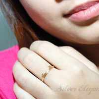 Initial Name Ring - Personalized Gift - Word Letters - 18K Gold Plated