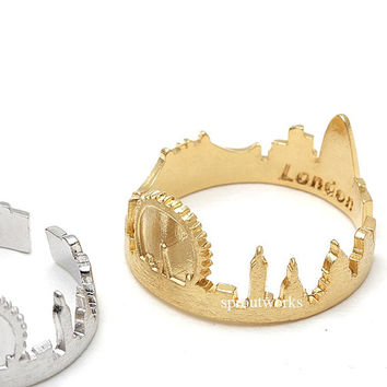 london ring, london skyline, skyline jewelry, skyline ring, cityscape ring, cityscape jewelry, london skyline ring, london