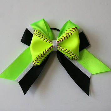 Neon Green and Black Real Softball Bow with White Glitter Center