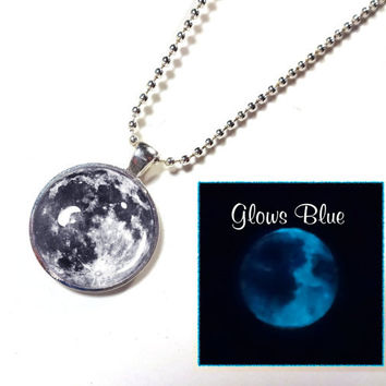 Glow in the Dark Full Moon Necklace - Custom - Blue Moon or Black and White Moon - 24 inch silver plated ball chain included