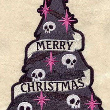 Goth Christmas embroidered baby bib by MorningTempest on Etsy
