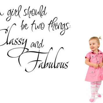 A Girl Should be Two Things Classy and Fabulous Coco Chanel Wall Decal Quote Words Sticker
