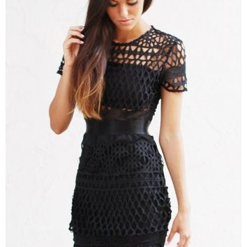 Black lace dress with black liner | Oaklee | escloset.com