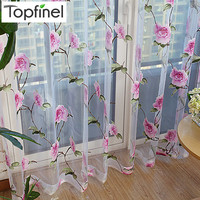New Sale floral tulle in sheer curtains for living room the bedroom kitchen shade window treatment curtain blinds panel