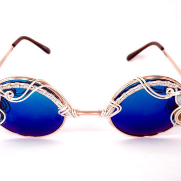 Small Round Steampunk SPuNGLaSSeS ~ Opals & Blue Topaz ~ Eyewear Sunglasses ~ By the Carat Gems ~ One OF a KiND  ~ Free Shipping