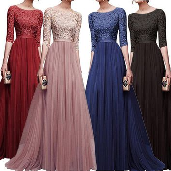 Women Chiffon Bridesmaid Long Maxi Evening Prom Gown Lace Long Dress