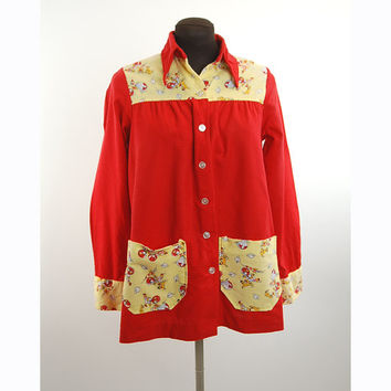 1960s smock top, Atomic novelty top, flannel shirt, Charlie's Girls, Erika Elias, Red Yellow