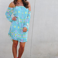 Electric Feel Aztec Dress: Bright Blue | Hope's