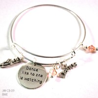 Dance Like No One Is Watching Ballet Bangle Bracelet with Charms and Swarovski Crystals