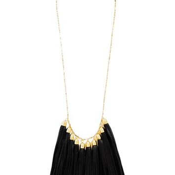 Women's BaubleBar Leather Tassel Bib Necklace - Black