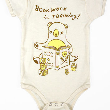 Bookworm Onesuit - Bookworm in Training Baby Bodysuit (Organic)