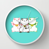 Lucky Cat Puppy Cat Wall Clock by RootBeerRobot | Society6