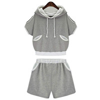 Grey Cutout Shoulder Elastic Waist Hooded Short Pants Sets