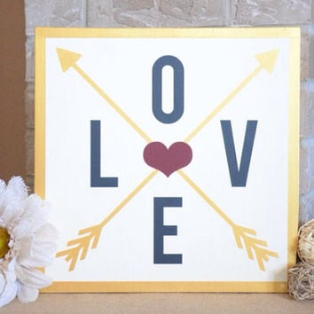 Love Arrows Wood Sign - Metallic Gold - Crossed Arrows - Criss-crossed Arrows Through Heart