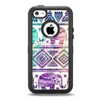 The Tie-Dyed Aztec Elephant Pattern Apple iPhone 5c Otterbox Defender Case Skin Set