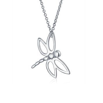 Butterfly Dragonfly Pendant Charm 925 Sterling Silver Necklace Chain