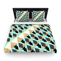 "Nika Martinez ""Glitter Triangles in Gold & Teal"" Blue Brown Woven Duvet Cover"