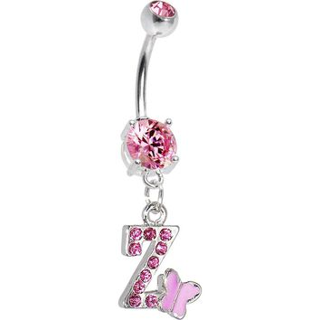 "Pink Gem Butterfly INITIAL Dangle Belly Ring - LETTER ""Z"""