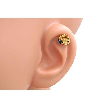 Gold Lotus Cartilage Earring Piercing 16g