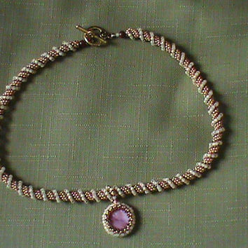 Light amber dark gold cranberry red shell cellini spiral peyote beadwork seed bead necklace