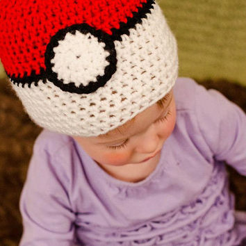 Crochet Pokemon Hat, Crochet Pokeball Hat, Gotta Catch 'em All, Baby Pokemon Hat, Baby Pokeball Hat