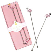 Fizzy Flamingo Glass Drink Stirrers (Set of 4)