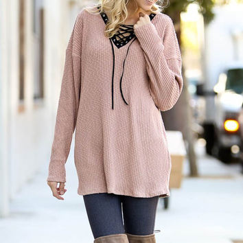 Lace Up Sweater Tunic
