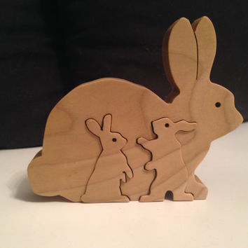 Rabbit Bunny Puzzle - Interlocking Pieces - Freestanding - Great for Easter - Oak - Waldorf Inspired - Scroll sawed by hand