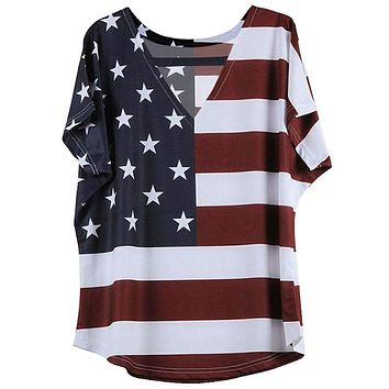 Sexy V-neck Short Sleeve Stripe Plus Size Women 5xl American Flag T-shirt Women's Clothing SY1124Z Macchar Cosplay Catalogue