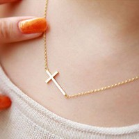Fashion Golden Cross Chain Necklace on Luulla