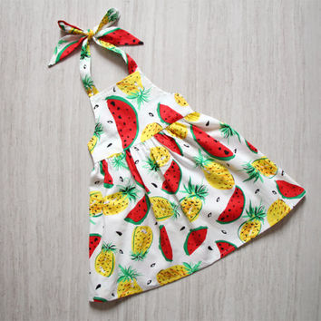 Girls Watermelon Dress Apron Dress Pineafore Dress Red Little Girls Beach Dress Backless Dress Halter Dress Toddler Summer Dress Dress Red