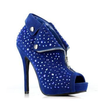 Ellie Shoes E-517-Chastity Suede Bootie with stud & grommet details