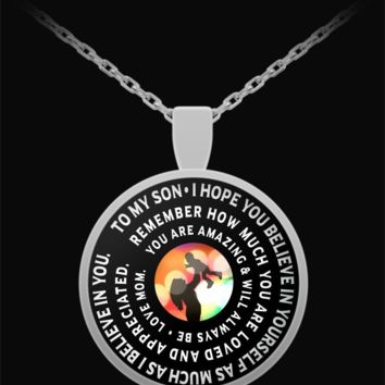 Mother And Son Necklace - Pendant Designed - Inspirational Gift-
