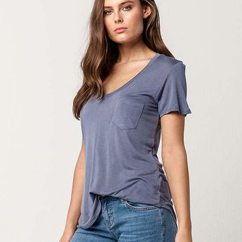FULL TILT Essential V-Neck Womens Pocket Tee | Knit Tops + Tees