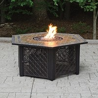 SheilaShrubs.com: UniFlame LP Gas Outdoor Firebowl With Slate Tile Mantel GAD1374SP by Blue Rhino: Fire Pits