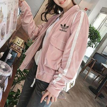 DCCKH3L Adidas' Women Casual Fashion Stripe Long Sleeve Baseball Clothes  Zip Cardigan Jacket Coat