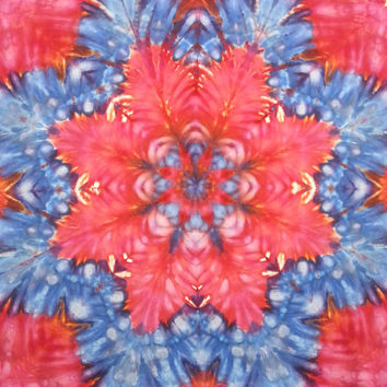 tie dye tapestry wall hanging star mandala red white and blue