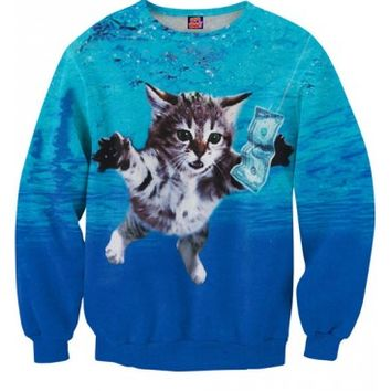 Cat Cobain Sweatshirt | All Over Print Shirts | Cat Cobain Nirvana