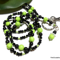 Lanyard Id Necklace Apple Green Howlite Gemstones Black Swarovski Pearls Handmade Fashion Jewelry with Angel and Strong Breakaway