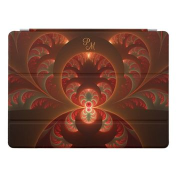 Luminous abstract modern Fractal Art Monogram iPad Pro Cover