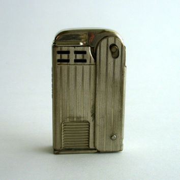 Vintage Regens Lighter, 1930s Squeeze Lighter, Silver Tone Art Deco Style, Collectible Lighter, Pocket Lighter, Gift for Him