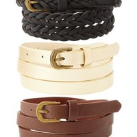 Braided, Metallic & Solid Belts - 3 Pack