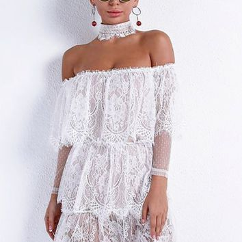 Tahiri Lace Off Shoulder Choker Collar Dress