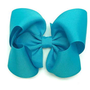 """5 inch Hairbows,Turquoise Blue Hair Bow Hair Bows, Extra Large Hair Bow,5"""" Bows,Solid Color Bows, Boutique Style,Large Bow, Girl Hair Bows"""