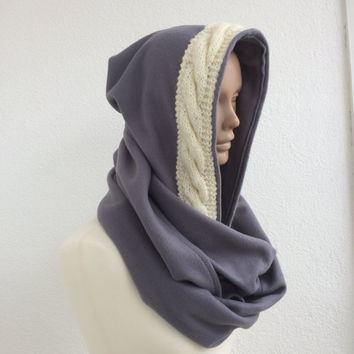 Hooded Scarf, Fleece Scoodie Scarf, Chunky Cozy Cowl, Winter Warm Scarf, Knit Hoodie Scarf, Cozy Neckwarmer, Gray Infinity Scarf