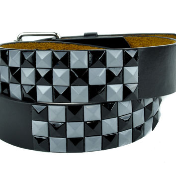 Black and Grey 3 Row Pyramid Stud Belt Genuine Leather
