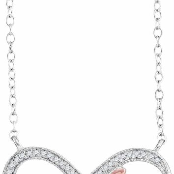 10kt White Gold Women's Round Diamond Infinity Hope Rose-tone Pendant Necklace 1-10 Cttw - FREE Shipping (US/CAN)