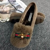 Bee Fashion Women Casual Autumn Winter Warm Rabbit Flat Villi Stylish Doug Shoes Single Shoes Khaki